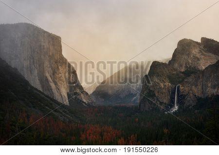 Sunset Tunnel View Yosemite Park, California