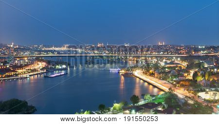 Istanbul city view from Pierre Loti Teleferik station overlooking Golden Horn with Halic Bridge Golden Horn Metro Bridge and historical mosques Eyup District Istanbul Turkey