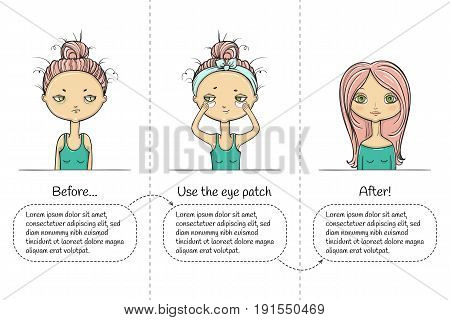 Make-up three steps instruction with girl. Vector illustration.