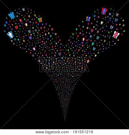 Angel source stream. Vector illustration style is flat bright multicolored iconic angel symbols on a black background. Object fountain created from random icons.