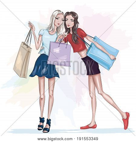 Two beautiful slim girls with shopping bags. Fashion girls. Stylish pretty women. Sketch. Vector illustration.