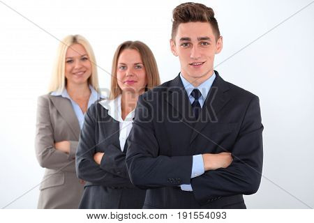 Sensitive young team leader in business concept