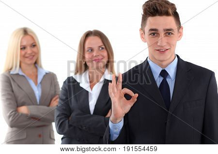 Group of business people, ok hand sign. Business concept