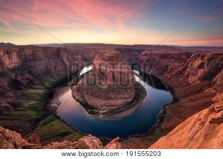 Horseshoed Bend At Sunset, Grand Canyon