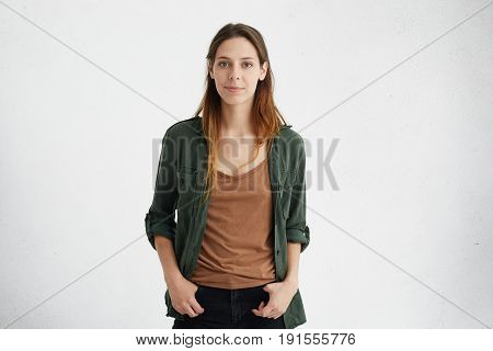 Horizontal Portrait Of Beautiful Woman With European Appearane Having Oval Face, Dark Attractive Eye