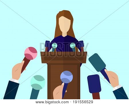 Press Conference Public Speaker vector illustration in flat style. Live report Breaking news concept. Many hands of journalists with microphones and woman standing at the rostrum and giving interview.