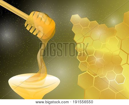 Honey Dipper with Honey on Abstract Golden Bright Yellow Honeycomb Background.