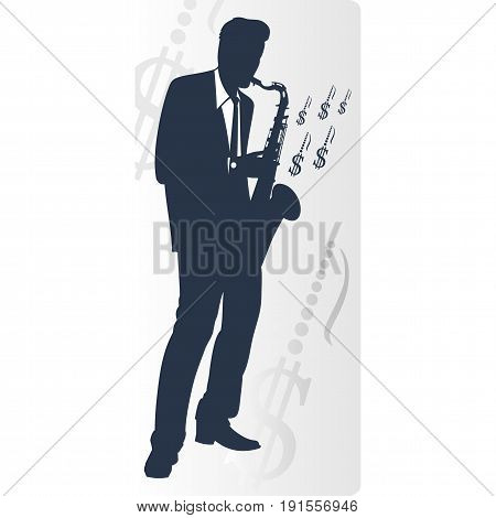 Saxophonist makes money isolated on white background. Vector illustration