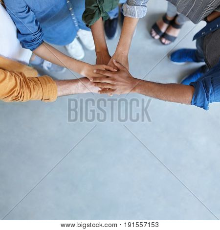 Friendship, Partnership, Togetherness, Collaboration Concept. Group Of International Friends Stackin