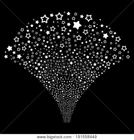 Source stream of decoration stars icons. Vector illustration style is flat white iconic symbols on a black background. Object stream combined from random design elements.