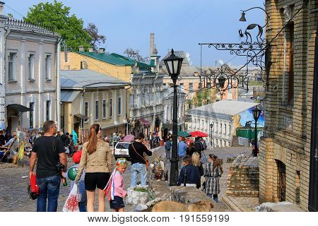KIEV, UKRAINE - MAY 1, 2011: Andreevsky Descent is the oldest lane that connects the Upper Town with the shopping Podil.