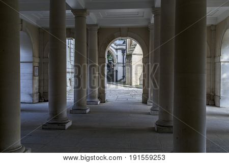 LONDON, GREAT BRITAIN - SEPTEMBER 19, 2014: This is a colonnade in the Temple District near the Temple Church.