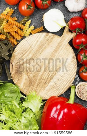 Raw Pasta Of Tagliatelle With Spinach And Fusilli Pasta With Spinach And Tomatoes, Ingredients For C