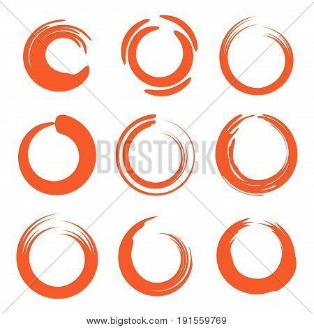 Isolated abstract round shape orange color logo collection, sun logotype set, geometric circles vector illustration