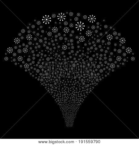 Source of expanse symbols. Vector illustration style is flat white iconic symbols on a black background. Object salute created from scattered design elements.