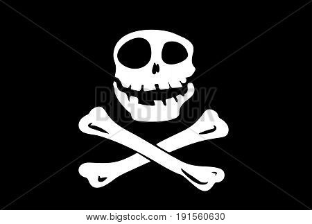 pirate flag skull and crossbones on a black background