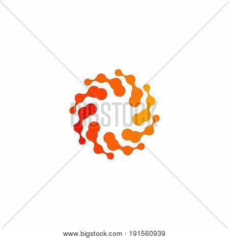 Isolated abstract round shape orange color logo, stylized sun logotype on white background, swirl vector illustration.