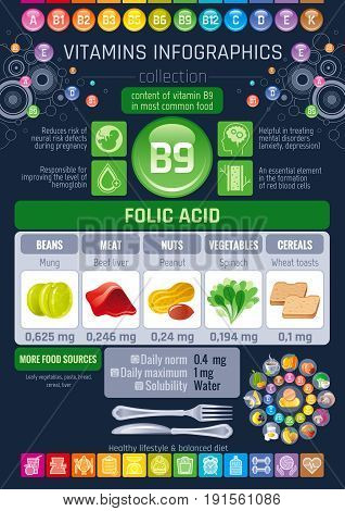Folic acid Vitamin B9 rich food icons. Healthy eating flat icon set, text letter logo. Diet Infographic diagram flyer, liver, peanut, mung. Table vector illustration background, human health benefits