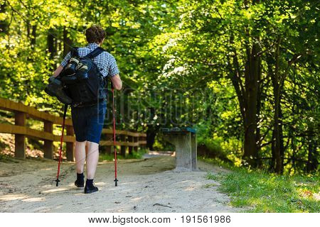 Outdoor survival relax leisure holidays concept. Young man alone in woodland. Hiker travelling in solitude through forest.