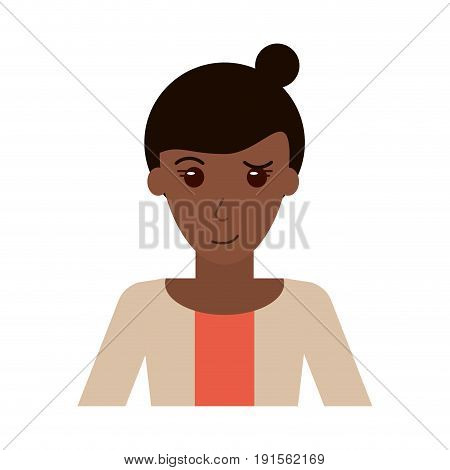 portrait of happy dark skin woman with professional appearance icon image vector illustration design