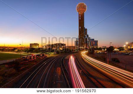 Train Transportation, Beaufiful Light Trail Sunset