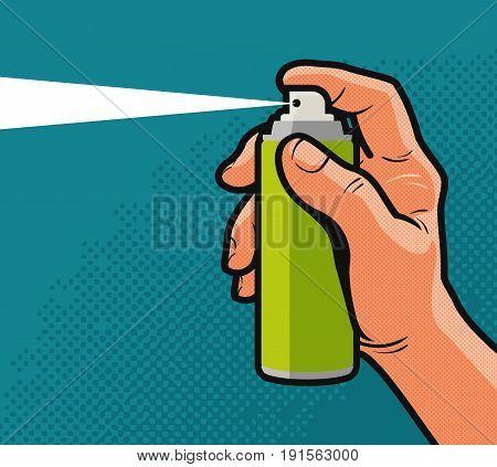 Spray in hand. Comics style design. Vector illustration