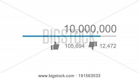 Vector of video views counter, counter of likes and dislikes close up.