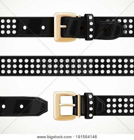 Leather black belt with rivets buttoned unbuttoned and seamless middle part isolated on white background