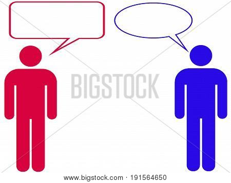 Cartoon dialogue. Conversation. People talking. Empty pops. Empty speech bubbles. White background. Red and blue
