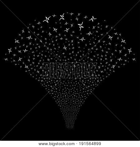 Fountain of pulse symbols. Vector illustration style is flat white iconic symbols on a black background. Object salute done from scattered icons.