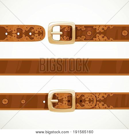 Leather Belts With Embroidery Buttoned, Unbuttoned And Seamless Middle Part Isolated On White Backgr