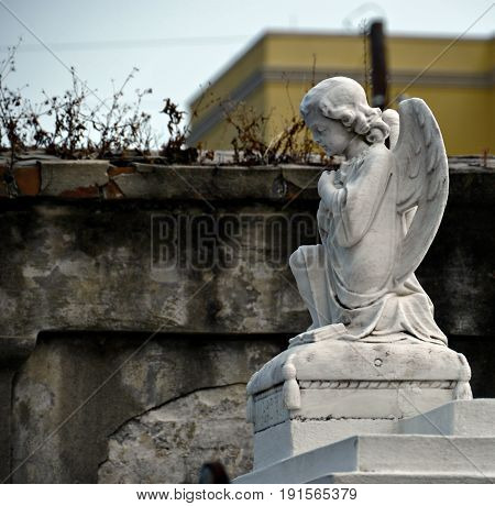 statue of an angel at cemetery A statue of a small angel on top of a tomb at a cemetery