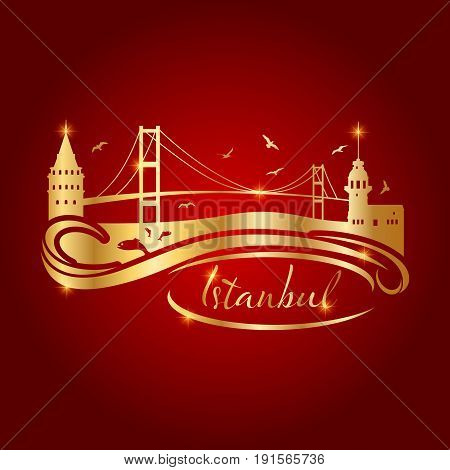 Istanbul silhouette icon and shape vector illustration