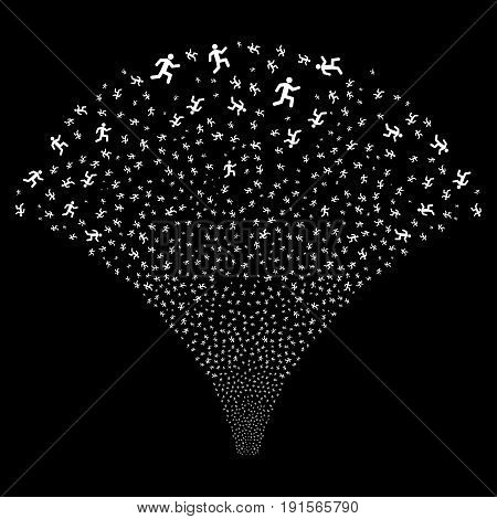Source of running man symbols. Vector illustration style is flat white iconic symbols on a black background. Object source combined from confetti icons.