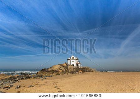 Miramar Beach and Chapel Senhor da Pedra, Atlantic ocean, Porto, Portugal.