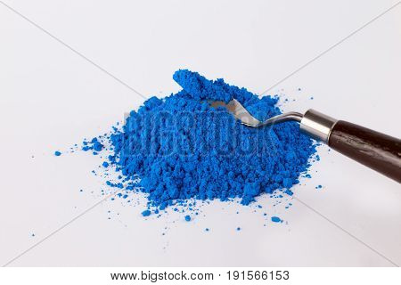 pigment on a white background, blue pigment