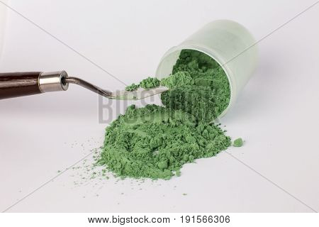 Chromium oxide pigment on a white background