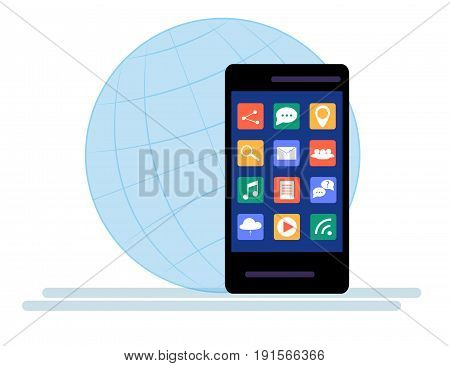 Black Smartphone with cloud of application icons Isolated on white background. Flat Design
