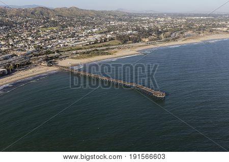 Ventura pier and beach aerial in Southern California.