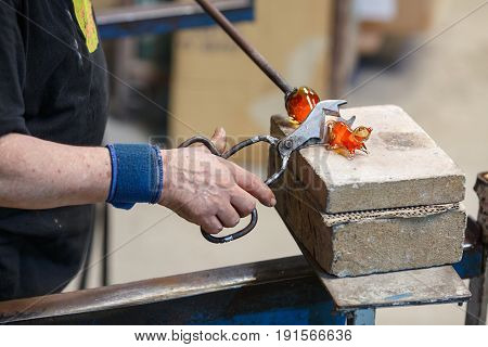 BARCELONA, SPAIN - AUGUST 6, 2016. The art and craft of glass blowing.