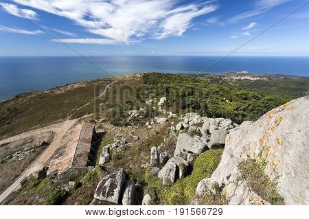 View of the Hermitage of Sao Saturnino and the Sintra Mountain range towards the Cabo da Roca (Cape Roca) and the Atlantic Ocean