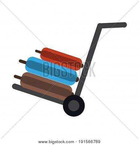 luggage cart and travel suitcase icon image vector illustration design