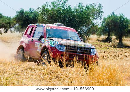 EXTREMADURA SPAIN - JUN 17: Driver and codriver Participing in TT Spanish Rally Championship. Badajoz Dehesa de Extremadura.