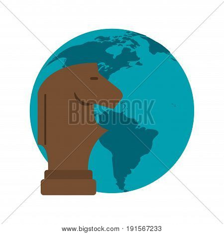 chess piece knight and planet earth icon image vector illustration design