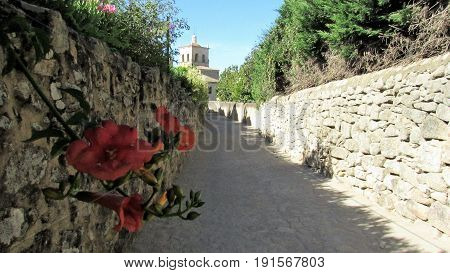 Corridor whit stone and flowers in Extremadura