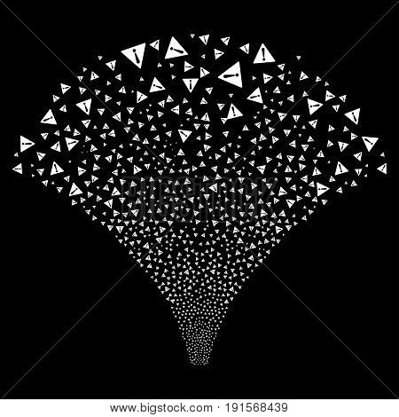 Fountain of warning symbols. Vector illustration style is flat white iconic symbols on a black background. Object fountain constructed from confetti design elements.