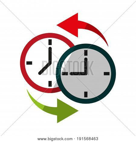 two clocks time zone change icon image vector illustration design