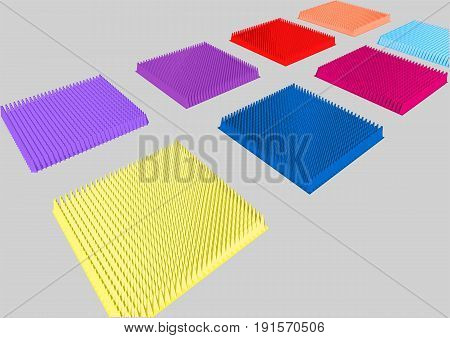 Mats with spikes isolated on grey background