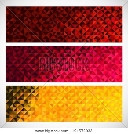 Colorful Pixel Background. Vector Set of Abstract Mosaic banners