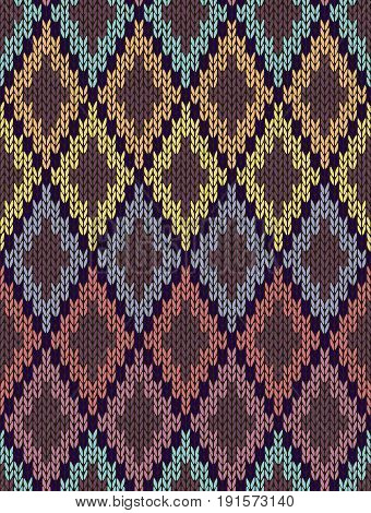 Seamless Ethnic Geometric Knitted Pattern. Style Red Green Orange Yellow Blue Background